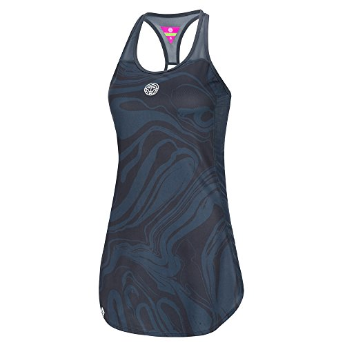 BIDI BADU Damen Tennis Kleid - Saira Tech Dress (3 in 1) - Anthracite/darkblue (FA18), Größe:L