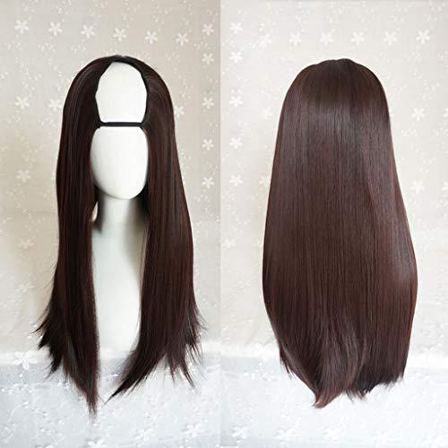 LNNA Lolita Harajuku Lange Seide Fluffy U-förmige Perücken Hitzebeständige Kunstfaser Ombre Gradient Dark Roots Hair für Cosplay 26 Zoll / 66 cm (Farbe : D, ausgabe : Nursing ()