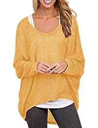 Yidarton Frauen Asymmetrisch Langarm Pullover Pulli Strickjacke Oversized  Baggy Lose Jumper T-Shirt Tops Bluse 803628a169