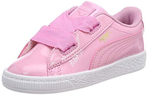 Puma Baby Mädchen Basket Heart Patent Inf Sneaker , Rosa (PRISM PINK-PRISM PINK) , 23 EU Baby Pink Patent Schuhe