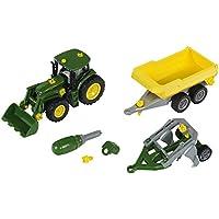 Theo Klein 3904 John Deere Traktor mit Kippmuldenanhänger und Pflug