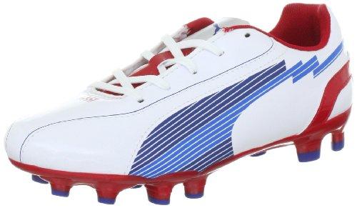 Puma Jr Evos 5 Fg, Chaussures de sport mixte enfant Weiss (white-limoges-ribbon red 01)