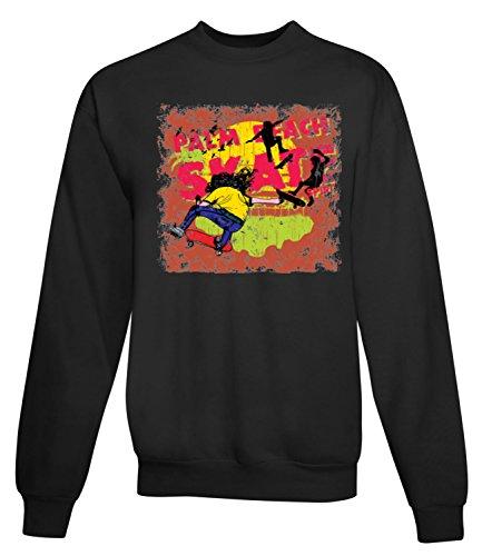 Billion Group | Palm Beach Skate | Graffiti Style Sk8 | Extreme Sport Series | Women's Unisex Sweatshirt Noir