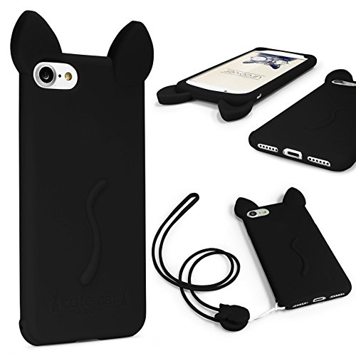 URCOVER Custodia Protettiva Morbida Apple iPhone 7 Plus | Backcase Orecchie di Gatto in TPU Nero | Case Ultraslim Flessibile da Donna Fantasia Laccio Nero