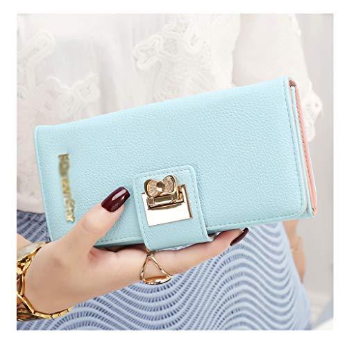 Women's Wallet Women's Long Zipper Snap Buckle Wallet Wallet Clutch Bag 10.7 * 2.7 * 19.5cm/0.21kg(Light Blue) -