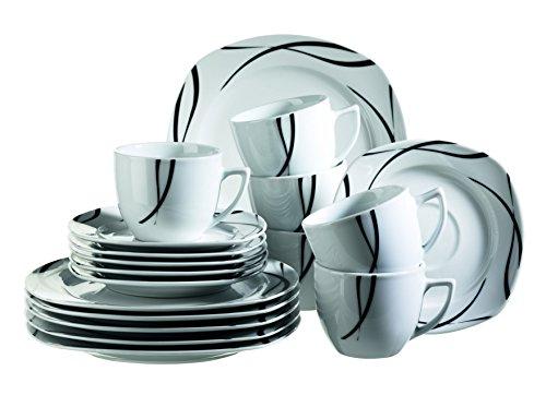MÄSER, Serie Oslo, Kaffeeservice 18-teilig, Frühstücks-Geschirr für 6 Personen