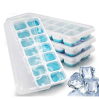 Ahatech Eiswürfelform, Silikon Eiswuerfel Form Eiswuerfelbehaelter Mit Deckel Lebensmittel Eis Schimmel Babynahrung 4Stk.