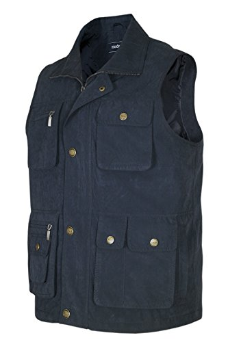 MIAN-MODE Herren Weste Outdoor Funktions-Weste Multi Taschen-Navy-3XL -
