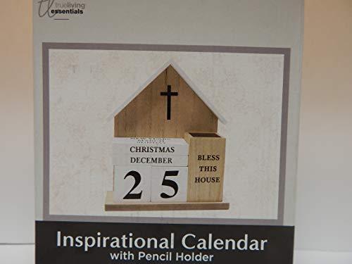 Ewiger Holzkalender inspirierender Holzblock ewiger Schreibtischkalender mit Feiertagen Neujahren Ostern Muttertag Patriotische Weihnachten Datumsanzeige für Zuhause oder Büro christlicher Kalender
