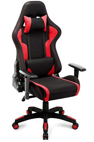 IntimaTe WM Heart Gaming Stuhl, Racing Bürostuhl Computerstuhl Ergonomischer Stoff Hoch Rücken Liegestühle Drehstuhl (Rot)