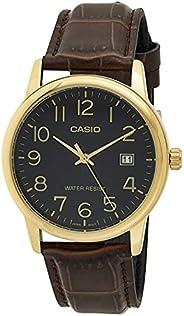 Casio Mens Quartz Watch, Analog Display and Leather Strap MTP-V002GL-1BUDF