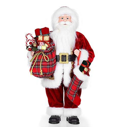 Uten Weihnachtsmann 45,7cm Santa Claus Figuren lebensgroße animierte Weihnachtsstern stehend Santa Figur mit Geschenk und Weihnachtsbaum für Tischplatte Figur Ornamente Weihnachtsfeier