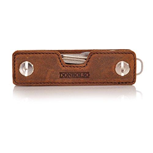Donbolso Key Organizer Leder mit Schraube aus Edelstahl Herren Schlüssel Organizer mit Einkaufswagenlöser und Flaschenöffner Schlüsseletui Braun -