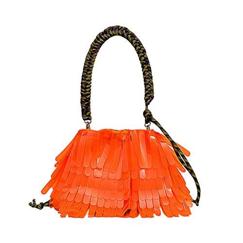 en Damen Handtasche Frauen Sommer Wilde Gelee Satz große Kapazitäts transparente Film Einkaufen Quaste Gezeiten Tasche Orange ()