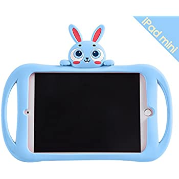 iPad Mini 2/3/4 Case, Bole Cat Case for Kids Handle Silicone Cute Cartoon Rabbit Design Shockproof Waterproof with Holder for Children Blue