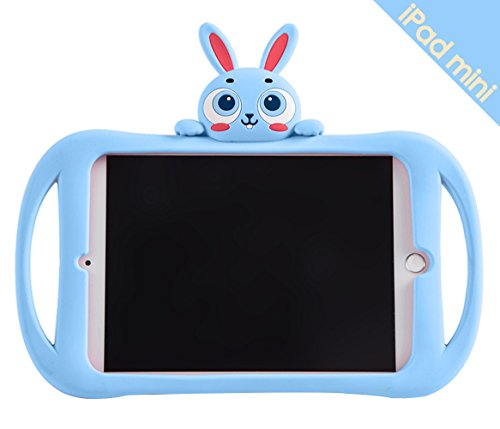 Bole Cat iPad Mini 2/3/4 Case with Handle Silicone Cute Cartoon Rabbit Design Shockproof Slim Waterproof with Holder for Children