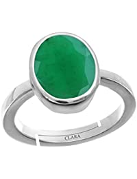 Clara Emerald Panna 4.8cts or 5.25ratti stone 92.5 Sterling Silver Adjustable Ring For MEN