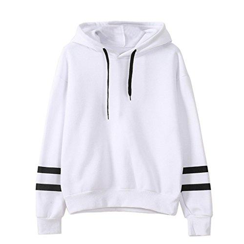 Hemd-Strickjackenhemd ❀❀ JYJM Womens Langarm Hoodie Sweatshirt Pullover mit Kapuze Pullover Tops Bluse (L, Weiß) (Mädchen Bestickte Jeans-rock)