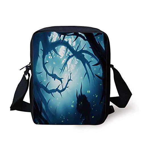 Mystic House Decor,Animal with Burning Eyes in Dark Forest at Night Horror Halloween Illustration,Navy White Print Kids Crossbody Messenger Bag Purse (Halloween Forest Dark)