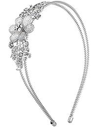 LUX accesorios en color plateado cristal rhinestone diadema flores), bobina de 2Fila