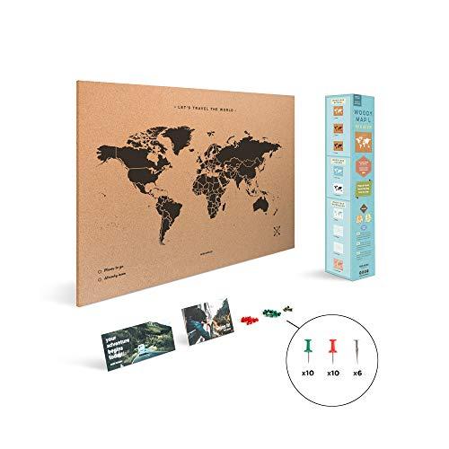 Miss Wood Map L, Mappa del mondo di Sughero, 45 x 60 cm, Naturale