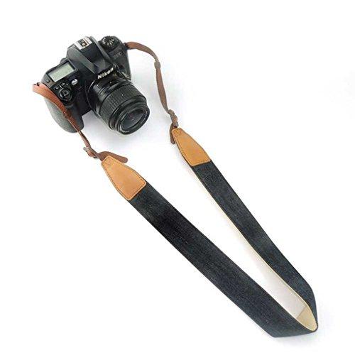 Jeracol Kamera Gurt Frauen weiche robuste Denim einzigen klassischen Schulter Gürtel Vintage Universal Camcorder Umhängeband für alle DSLR Kamera Nikon Canon Sony Olympus Samsung Pentax Fujifilm, schwarz