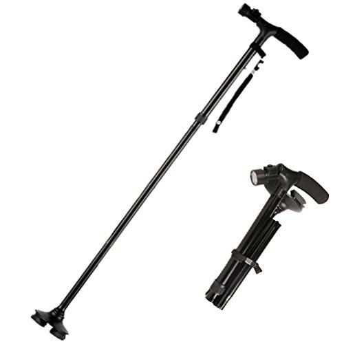 Aoneky regolabile bastone da passeggio pieghevole luci led integrate e manico in spugna, bastone da passeggio per anziani, disabili, artrite, gamba e gomito problemi di mobilità ecc.