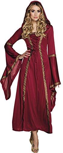 Halloweenia - Königliches Mittelaalter Kostüm Kleid mit Kapuze- Zauberin Prinzessin, S/M, (Prinzessin Erwachsene Jasmin Für Accessoires)