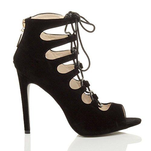 Femmes talons hauts decoupé cage lacer bottines sandales chaussures pointure Noir daim