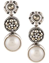 Ananth Jewels Somma 925 BIS Hallmaked Silver with Swarovski Marcasite and Pearls Dangle Drop Earrings for Women