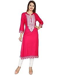 Attire4style Women's Long Straight Rayon Kurta Embroidery Pink Stand Collar