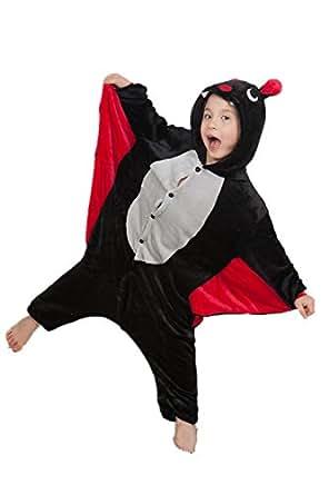Missley Combinaison Cosplay Unisexe pour Adultes Combinaison Cosplay Pyjamas de Licorne Vêtements Flanelle Costume de Halloween Déguisement Soirée (85CM, Bat-Children)