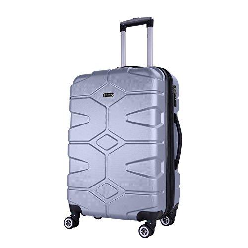 SHAIK SERIE RAZZER SH002 DESIGN PMI Hartschalen Kofferset, Trolley, Koffer, Reisekoffer, 4 Doppelrollen, 25{7667af6b2a3fa0c4f010e08e785d84f85ede901cbe5ce0b885ece786d1d29104} mehr Volumen durch Dehnfalte (Silber, M - Handgepäck)