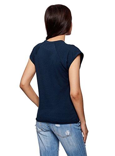 oodji Ultra Damen Lässiges T-Shirt Basic mit Unbearbeitetem Saum Blau (7900N)