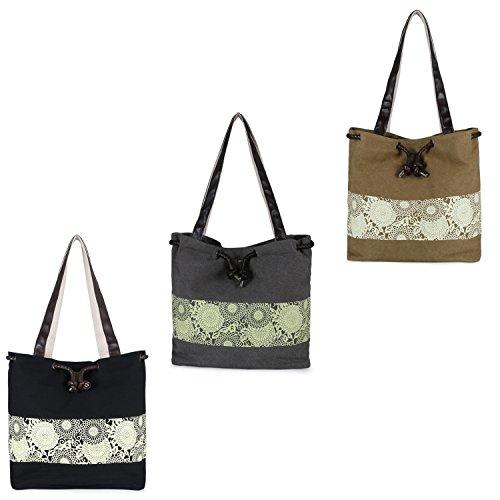 JewelryWe Damen Vintage Canvas Umhängetasche Handtasche Schultertasche Retro Blumen Druck, 3 verschiedenen Farben