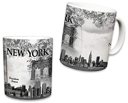 Sweet Gisele Tasse New York City, Keramik, NYC Kaffeetasse, Downtown Manhattan Skyline, Empire State Building, Statue of Liberty, Brooklyn Bridge, tolles Geschenk, 325 ml Oz 11 Fluid Ounces beige - Nyc-kaffee-tasse
