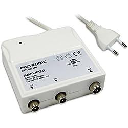 METRONIC Amplificateur répartiteur UHF avec réglage de Gain Blanc (2 Sorties blindé 30dB)