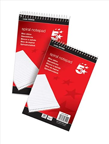 5 Star Spiral Notepad Headbound Ruled 160 Pages/80 sheets 200x125mm [Pack 10]