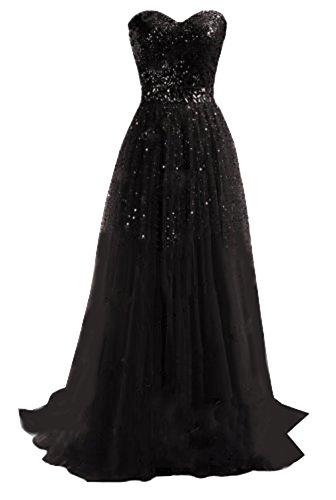 Damen Pailletten Tüll Bandeau Maxi Kleid Festkleid Sexy Elegant Abendkleider Lang Kleider...