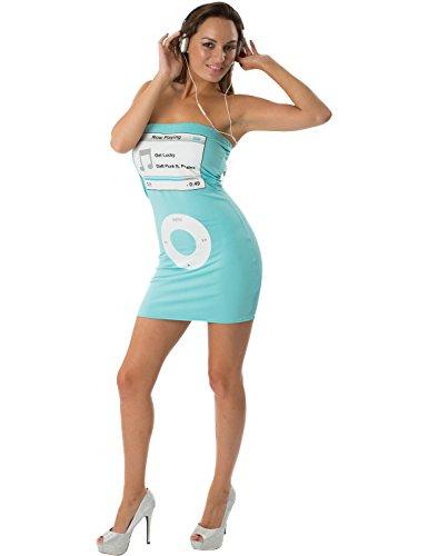 Damen Medien Spieler Blau werde Glücklich Schickes Kostüm Kleid (Kostüm Punk Daft)