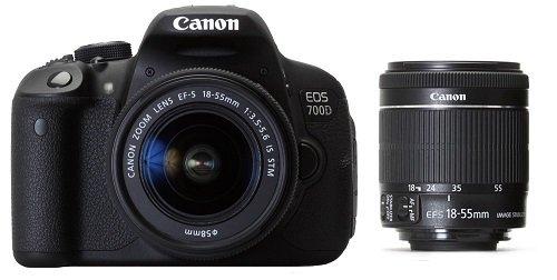 Canon EOS 700D 18MP Digital SLR Camera (Black) with 18-55 STM Lens, 8GB SD Card, Camera Bag