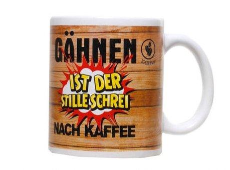 Witziger Kaffeebecher im Holz Design mit Spruch: Gähnen ist der ... Becher Tasse