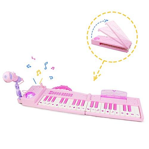 Akokie Piano Keyboard Kids Musical Toys Digital 37 Keys with Microphone Karaoke for Girls Boys 3 4 5 Years Old