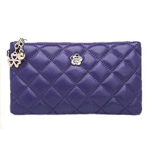 WU Zhi Lady In Pelle Rombi Pochette Portafogli Purple