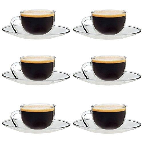 Tasse et sous-tasse en verre - pour expresso - transparent - 60 ml - lot de 6