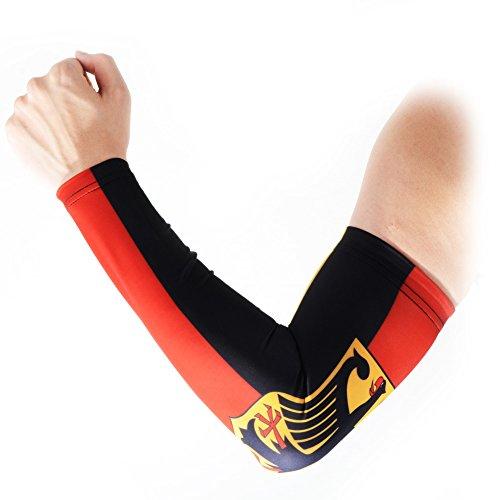 Preisvergleich Produktbild COOLOMG Arm Sleeves Armwärmer Ärmlinge Kompression Bandage Rutschfest Anti UV Running Radsport für Damen Herren 1 Paar Deutschenland Flagge M
