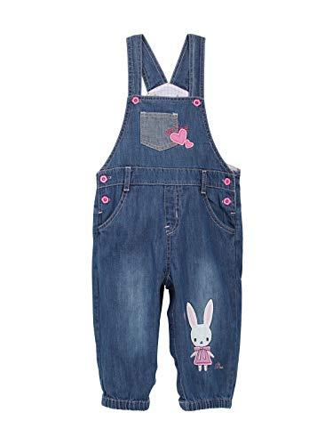 Baby Mädchen Jeans Latzhose Strampler Overall Weiche Baumwolle Denim Hose Dünn für Frühling Sommer Cartoon Pink Häschen Größe 62/68