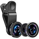 Mobile Phone Camera Lens Kit Phone Lens With Fish Eye Lens +Macro Lens + Wide Angle Lens Compatible With iPhone,Samsung,Huawei,iPad,Snoy,HTC,LG,etc (Black)