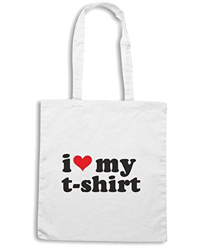 T-Shirtshock - Borsa Shopping T0011 I LOVE MY T-SHIRT Bianco