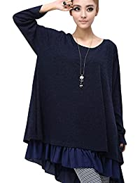 Moollyfox Mujer Vestido Corto con Mangas Largas Suelto Vestido de Suéter Fiesta